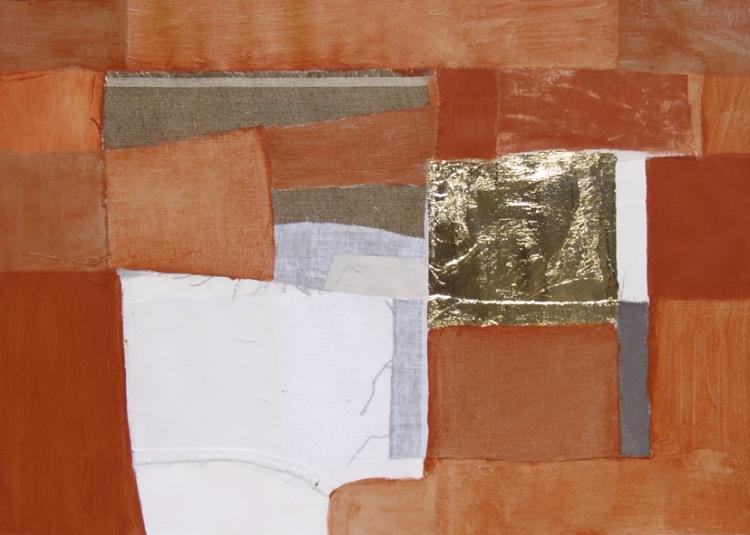 Paper Stigma, 50x60, canvas, silk, gold on paper